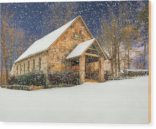 Snowy Cloudland Presbyterian Church  Wood Print