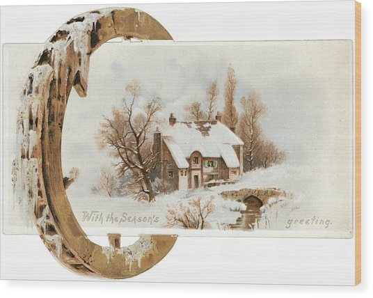 Snowy Cottage Landscape With Wooden Wood Print by Gillham Studios