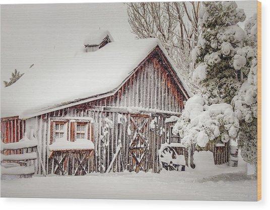 Snowy Country Barn Wood Print
