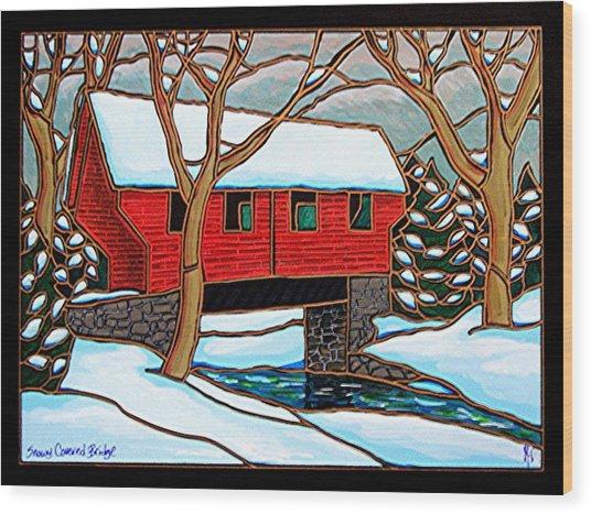 Snowy Covered Bridge Wood Print