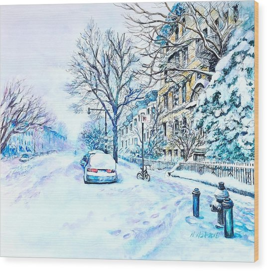 Snowy Day Brooklyn  Wood Print