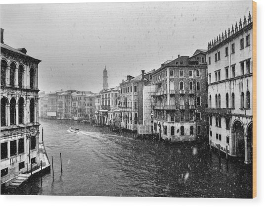 Snowy Day In Venice Wood Print