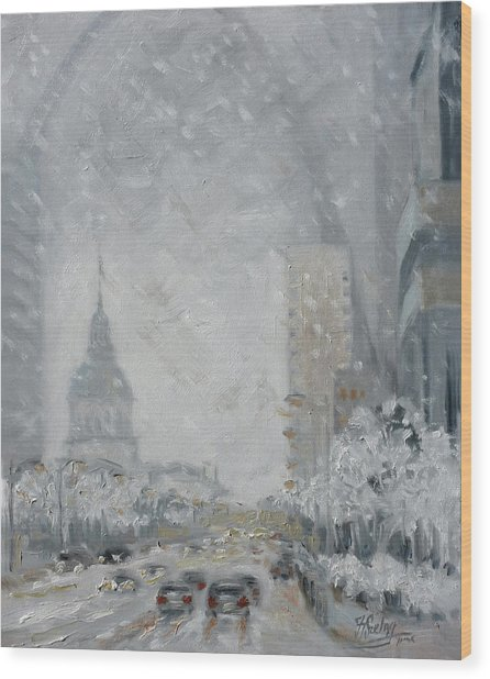 Snowy Day - Market Street Saint Louis Wood Print