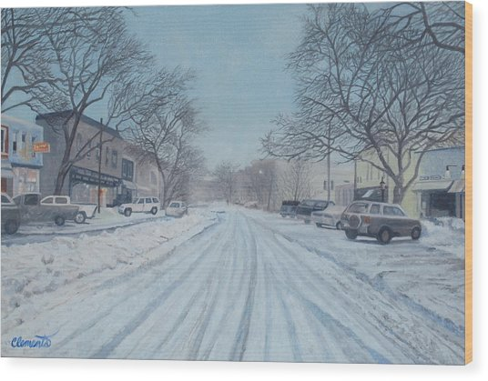 Snowy Day On Main Street, Sag Harbor Wood Print