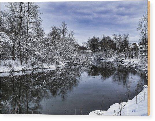 Snowy Ellicott Creek Wood Print