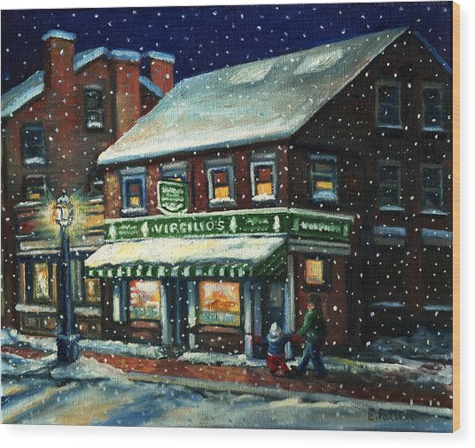 Snowy Evening In Gloucester, Ma Wood Print
