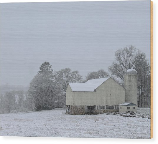 Winter White Farm Wood Print