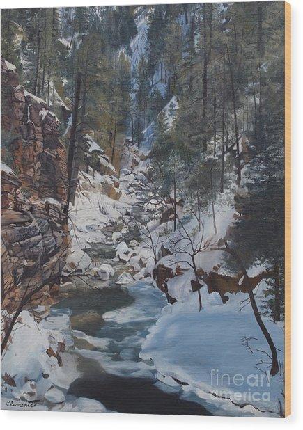 Snowy Forest Stream Wood Print
