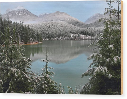 Snowy Green Lake Sunset Whistler B.c Canada Wood Print by Pierre Leclerc Photography