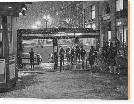 Snowy Harvard Square Night- Harvard T Station Black And White Wood Print
