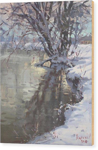 Snowy Hyde Park Wood Print