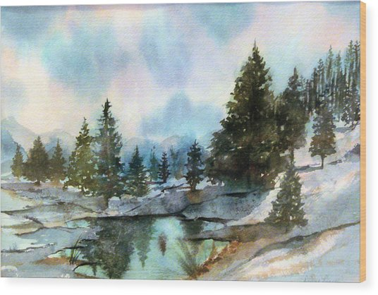 Snowy Lake Reflections Wood Print