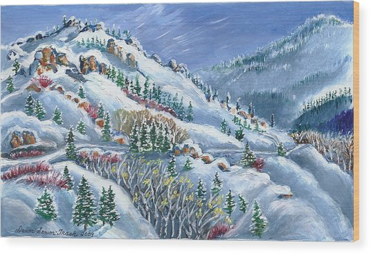 Snowy Mountain Road Wood Print