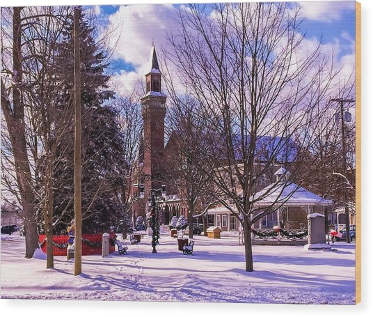 Snowy Old Town Hall Wood Print