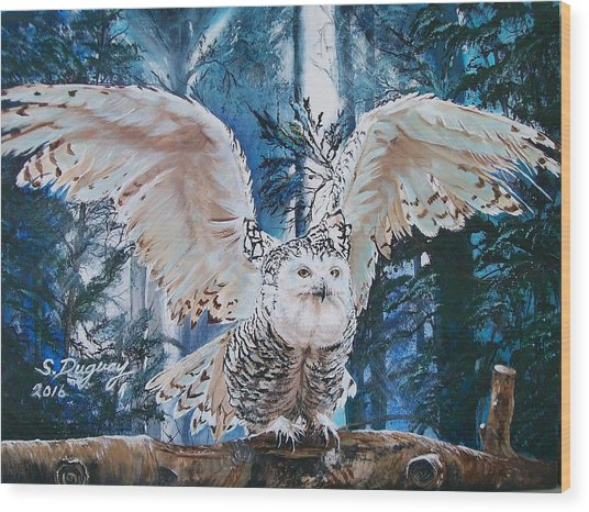 Snowy Owl On Takeoff  Wood Print