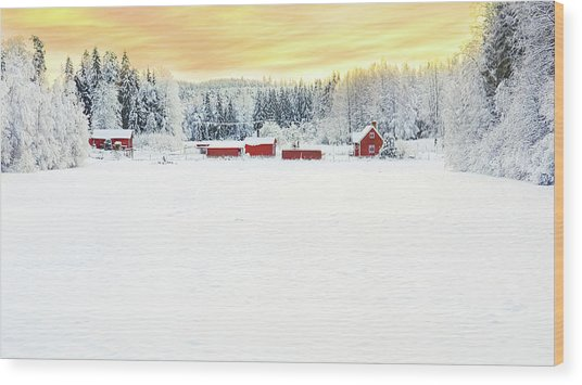 Snowy Ranch At Sunset Wood Print