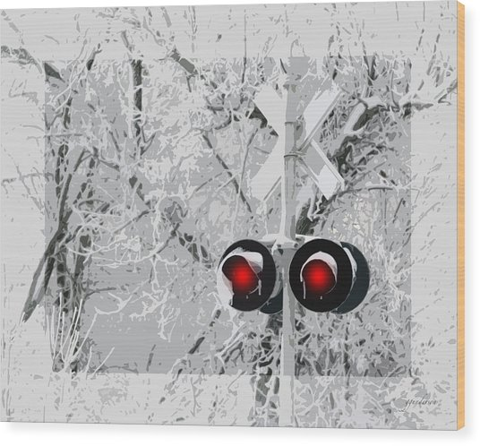 Snowy Red Light At Rr Crossing Wood Print