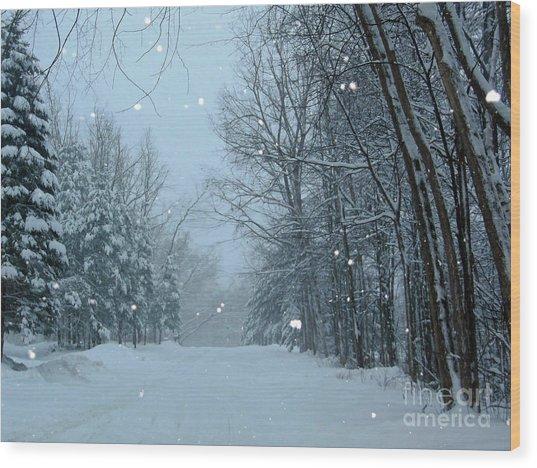 Snowy Street Wood Print
