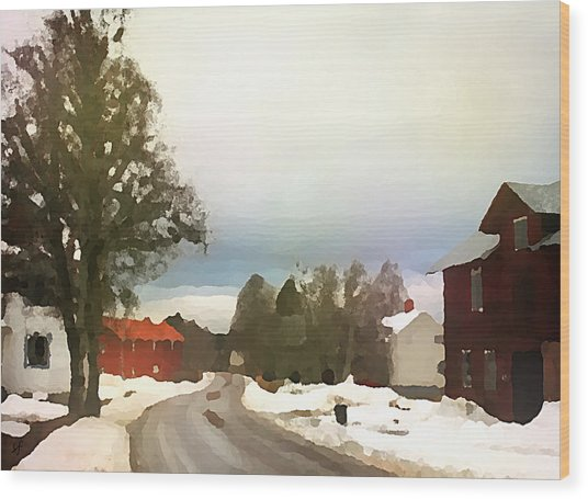Snowy Street With Red House Wood Print