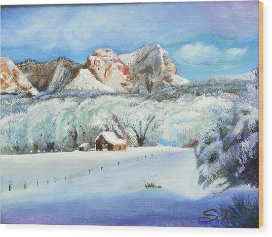 Snowy Sugar Knoll Wood Print