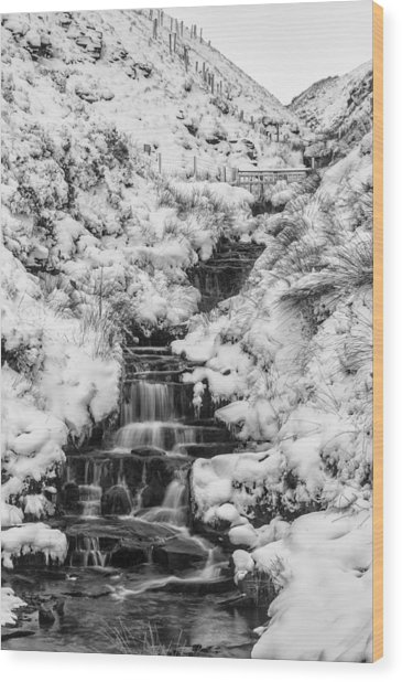 Snowy Waterfall In The Peak District In Derbyshire Wood Print