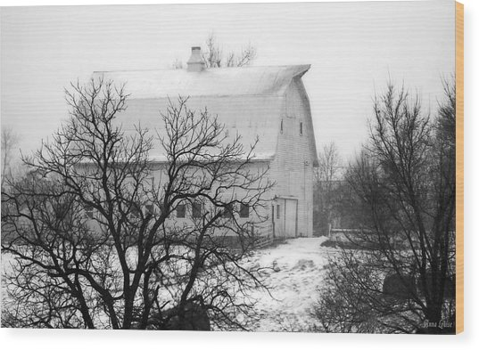 Snowy White Barn Wood Print