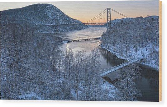 Snowy Winter Dawn At Three Bridges Wood Print