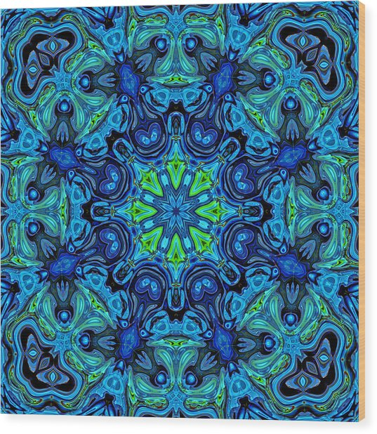 So Blue - 04v2 - Mandala Wood Print