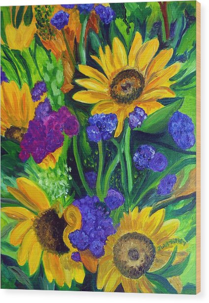 Sunflowers -soaking Up Sunshine Wood Print