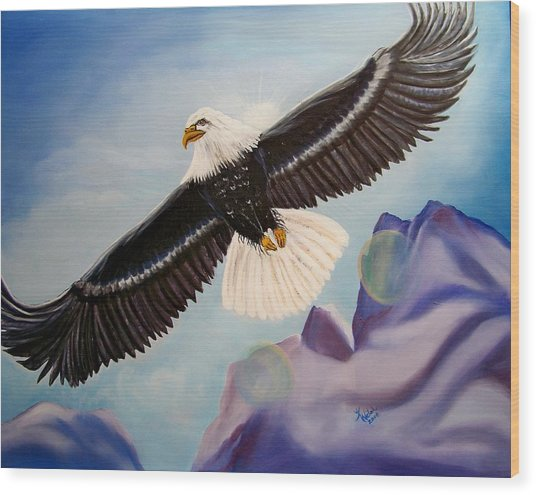 Soaring Eagle Wood Print by Kathern Welsh