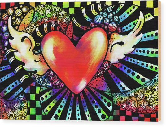 Soaring Heart Coloration Wood Print