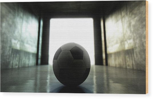 Soccer Ball Sports Stadium Tunnel Wood Print