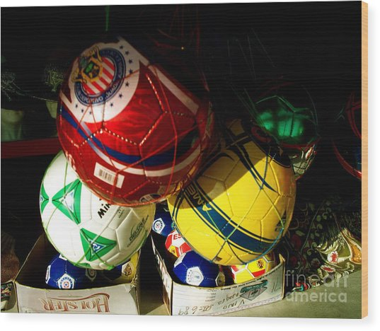 Soccer For Sale Wood Print by Chuck Taylor