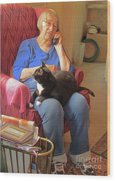 Socks And Marion On Phone Wood Print by Fred Jinkins