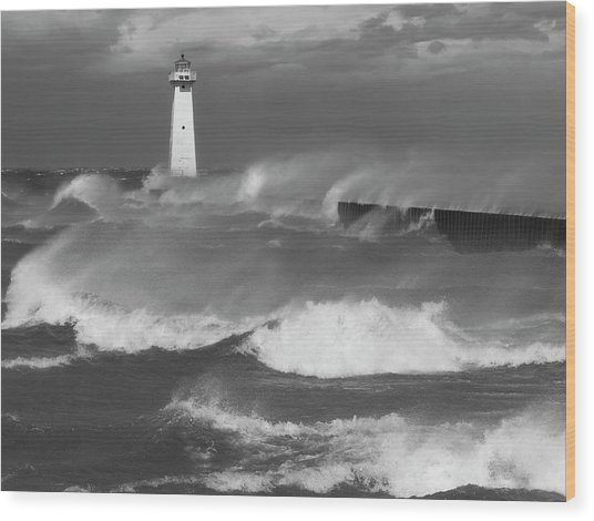 Sodus Point Light During The Storm Wood Print