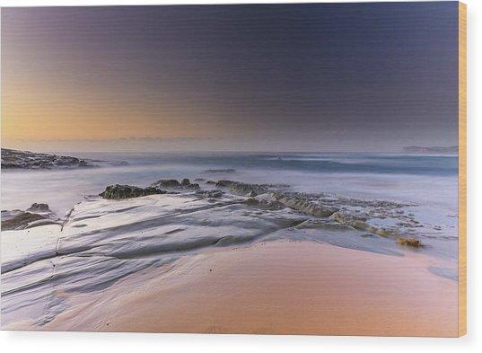 Soft And Rocky Sunrise Seascape Wood Print