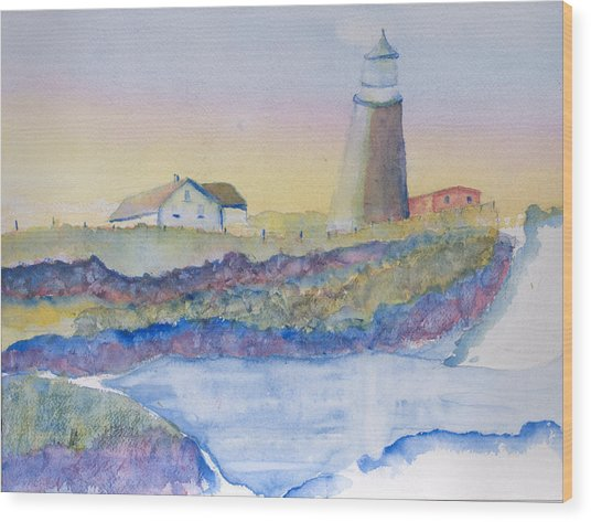 Soft Blue And A Light House Wood Print by MaryBeth Minton