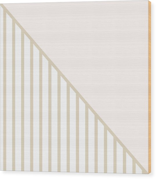 Soft Blush And Champagne Stripe Triangles Wood Print