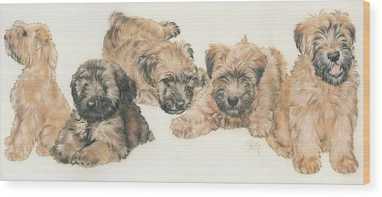 Soft-coated Wheaten Terrier Puppies Wood Print