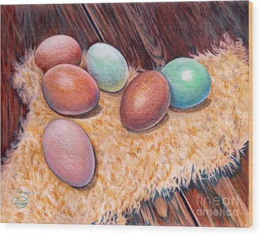 Soft Eggs Wood Print