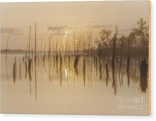 Soft Peach Sunrise At Manasquan Wood Print