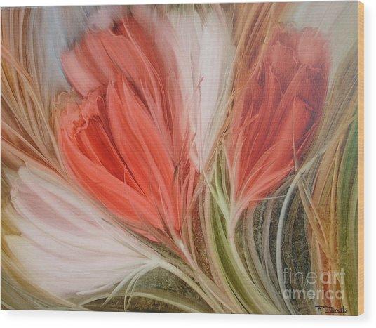 Soft Tulips Wood Print by Fatima Stamato