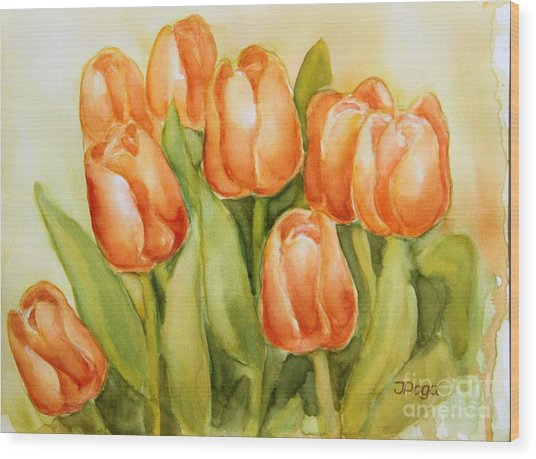 Soft Yellow Spring Tulips Wood Print