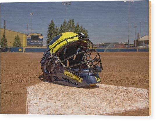 Softball Catcher Helmet Wood Print