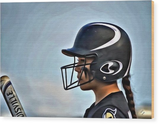 Softball Beauty Girl Wood Print