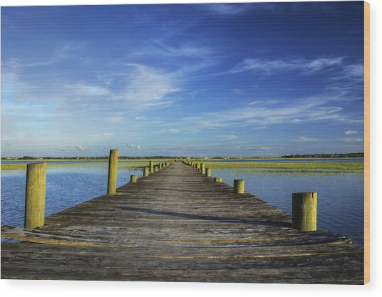 Sol Legare Wooden Dock Vanishing Point Wood Print