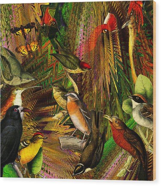 Solar Birds Of Paris Wood Print