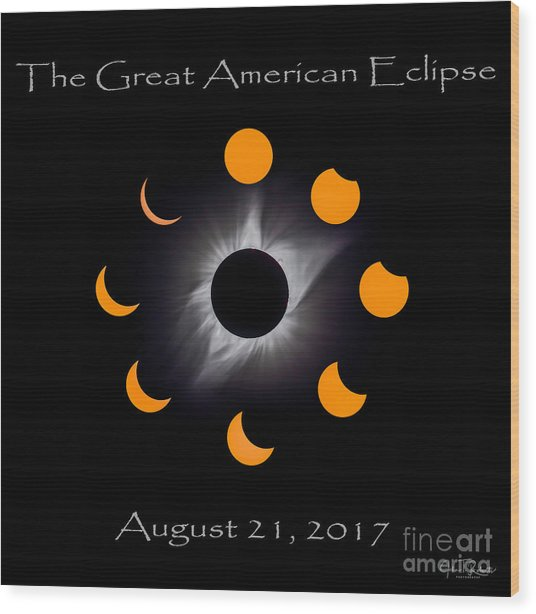 Solar Eclipse Stages Wood Print