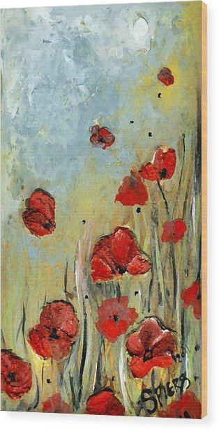 Sold Mom And Poppies Wood Print by Amanda  Sanford