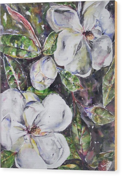 Sold Steal Magnolias Wood Print by Amanda  Sanford